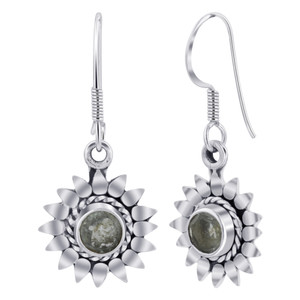 Sterling Silver Bali Design flower Round Shape Gemstone Drop Earrings