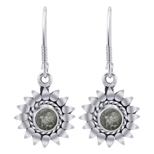 Sterling Silver flower Round Shape Gemstone Drop Earrings