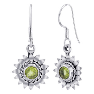 925 Silver flower Peridot Drop Earrings