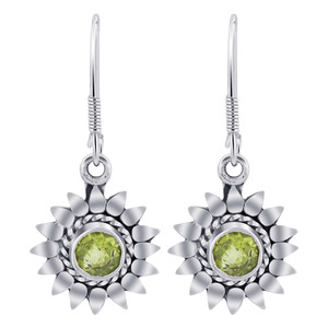 Sterling Silver Bali Design flower Genuine Peridot Gemstone Drop Earrings