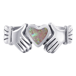 Pink Opal Heart Irish Claddagh Womens Ring
