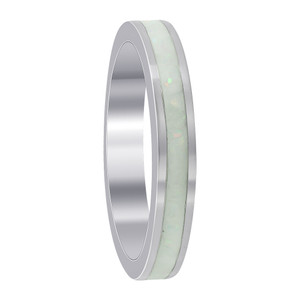 Sterling Silver Simulated White Opal 3mm Eternity Band