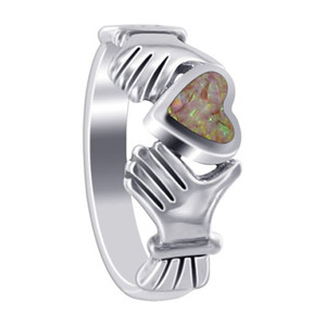 Opal Heart Irish Claddagh Womens Ring