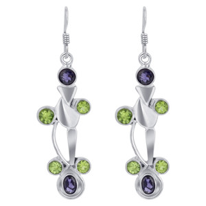 Sterling Silver Bezel Set Blue Tourmaline Gemstone Drop Earrings