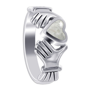 White Opal Heart Irish Claddagh Womens Ring