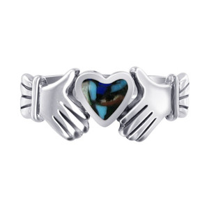 925 Sterling Silver Turquoise with Coral Heart Irish Claddagh Womens Ring