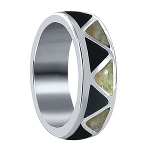 MOP with Simulated Black Onyx Band Ring