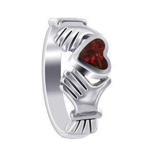Red Cubic Zirconia Heart Irish Claddagh Womens Ring