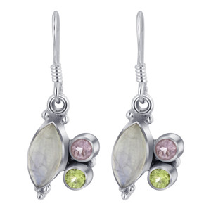 Sterling Silver Bezel Set Moonstone with Peridot and Amethyst Drop Earrings