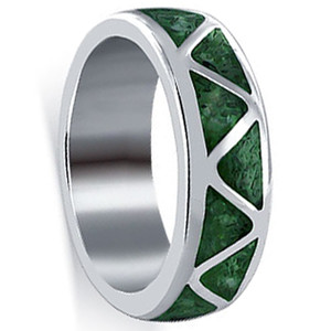 Sterling Silver Southwestern Style Malachite Gemstone Inlay Band
