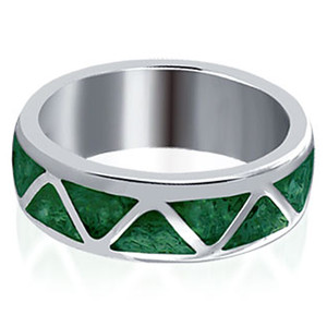 Malachite Gemstone Wedding Band Ring