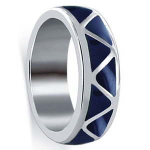 Lapis Lazuli Gemstone Wedding Band Unisex Ring