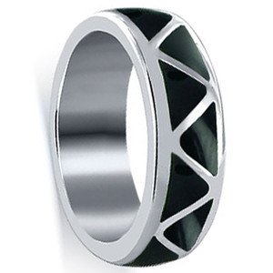 Simulated Black Onyx Resin Band Ring