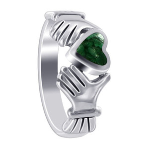 Green Malachite 6mm Heart With Irish Claddagh Womens Ring