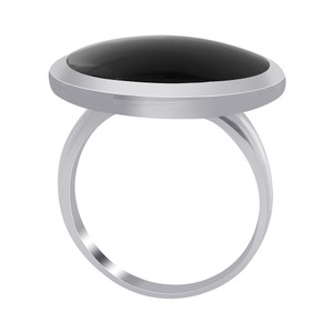 Black Onyx Gemstone Womens Ring