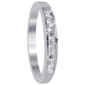 925 Sterling Silver 2mm Round Cubic Zirconia Slim Band