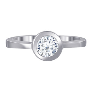 925 Sterling Silver 5mm Round Cubic Zirconia Ring