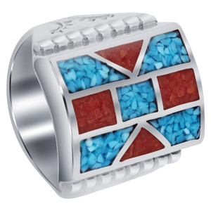 Turquoise and Coral Gemstone Inlay Mosaic Design Ring