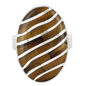 Sterling Silver Tiger eye Oval with Stripes Design Ring