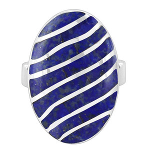 Sterling Silver Oval Blue Lapis Womens Ring