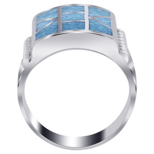 Turquoise Gemstone Chip Inlay Mosaic Design Ring