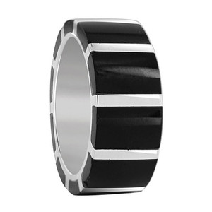 Black Onyx Gemstone Band Unisex Ring