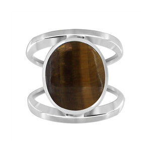 Brown Tiger eye Gemstone Solitaire Womens Ring