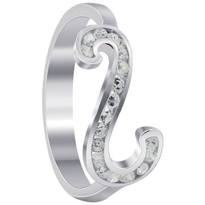 925 Sterling Silver 1mm Round Cubic Zirconia with Studded Backwards S Shape Ring