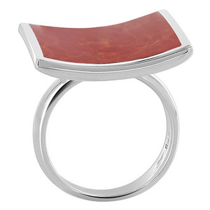 Square Red Coral Gemstone Womens Ring