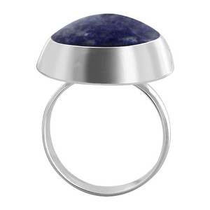 Lapis Lazuli Gemstone Solitaire Womens Ring