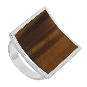 Square Brown Tiger eye Gemstone Womens Ring