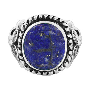 Milgrain Design Oval Lapis Lazuli Gemstone Solitaire Womens Ring