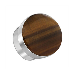 Sterling Silver Oval Brown Tiger eye Gemstone Ring
