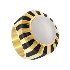Cats Eye Bead with Black Stripes Cocktail Womens Ring