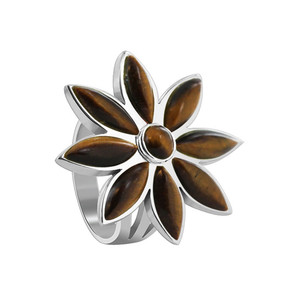 Sterling Silver Floral Design Brown Tiger eye Gemstone Ring