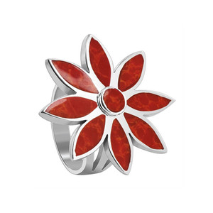 Sterling Silver Floral Design Red Coral Gemstone Ring