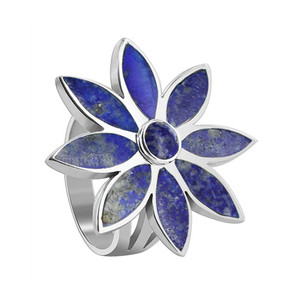 Sterling Silver Floral Design Blue color Lapis Lazuli Gemstone Ring