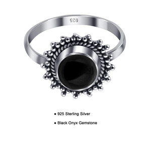 Black Onyx Gemstone Retro Style Womens Ring