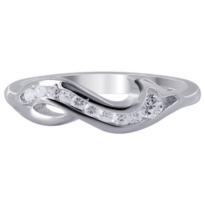925 Sterling Silver Cubic Zirconia with Wavy Design Ring