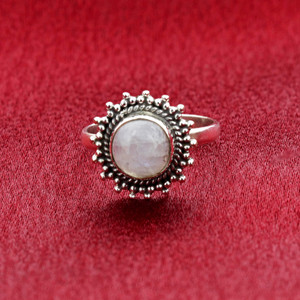 Moonstone Gemstone Retro Style Womens Ring