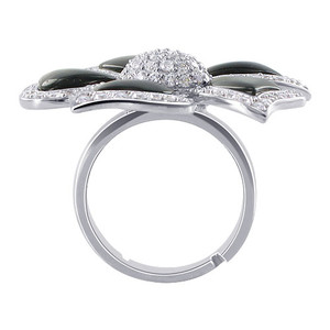 Black MOP with CZ Flower Womens Ring