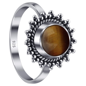 Tigers Eye Gemstone Retro Style Womens Ring