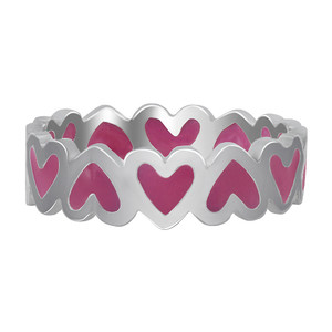 Sterling Silver Pink Enamel 5mm wide Heart Band