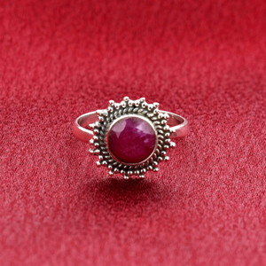 Ruby Gemstone Retro Style Women's Ring