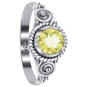 Citrine Gemstone Solitaire Women's Ring