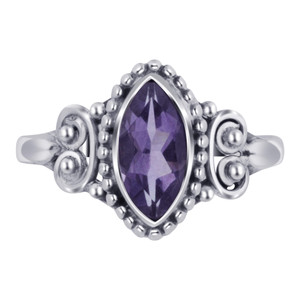 Marquise Amethyst Gemstone Women's Ring