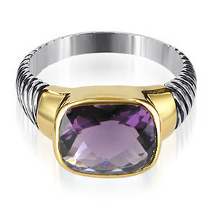 925 Silver Gold Plated Dark Purple Cubic Zirconia Ring
