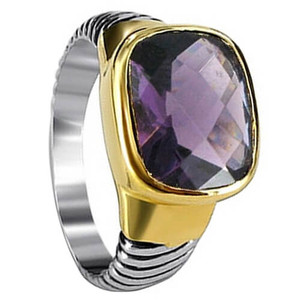 Sterling Silver Gold Plated Dark Purple CZ Cubic Zirconia Rectangle Ring