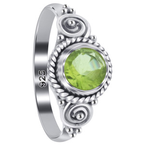 Peridot Gemstone Solitaire Women's Ring