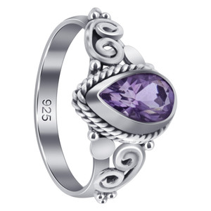 Sterling Silver Pear Shape Amethyst Gemstone Ring